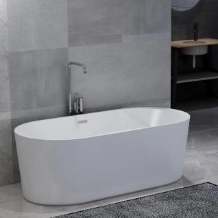 vidaXL Freistehende Badewanne Weiß Acryl 204 L