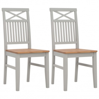 vidaXL Esszimmerstühle 2 Stück Grau 44x59x96 cm Massivholz Eiche