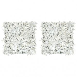 vidaXL Kissen 2 Stk. Hochflor Hellgrau 45 x 45 cm Leder und Baumwolle