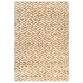 vidaXL Handgewebter Teppich Jute Stoff 160 x 230 cm Natur und Weiß