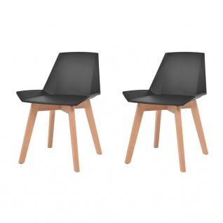 vidaXL Esszimmerstühle 2 Stk. Schwarz Kunststoffsitz Buchenholzbeine
