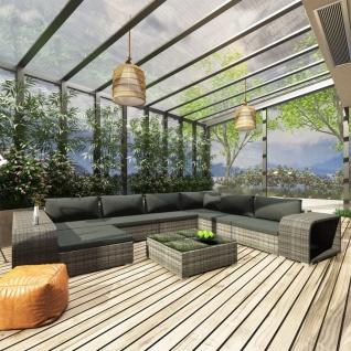 vidaXL 10-tlg. Garten-Lounge-Set mit Auflagen Poly Rattan Grau - Vorschau 1