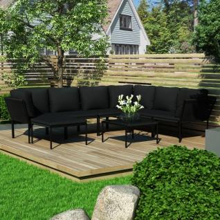 vidaXL 8-tlg. Garten-Lounge-Set mit Auflagen Schwarz PVC