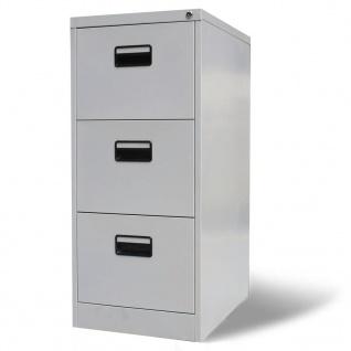 vidaXL Registerschrank mit 3 Schubladen Grau 102, 5 cm Stahl