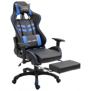 vidaXL Gaming-Stuhl mit Fußstütze Blau Kunstleder - Vorschau 2