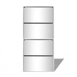 vidaXL Schuhschrank mit 4 Fächern Spiegel Weiß 63×17×134 cm - Vorschau 4