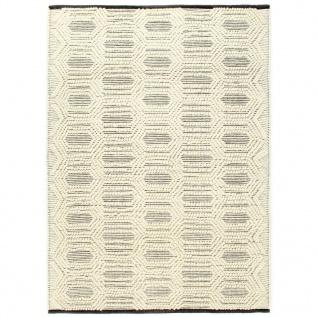 vidaXL Teppich Handgewebt Wolle 80×150 cm Weiß/Schwarz