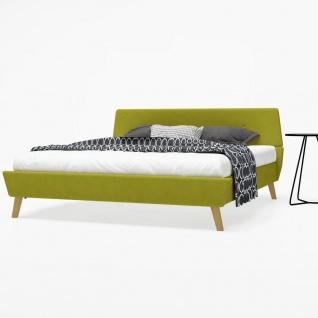 vidaXL Bett mit Memory-Schaum-Matratze 160 x 200 cm Stoff Grün (245124+241075)