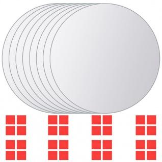 vidaXL 8-tlg. Spiegelfliesen-Set Rund Glas