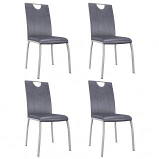 vidaXL Esszimmerstühle 4 Stk. Wildleder-Grau Kunstleder