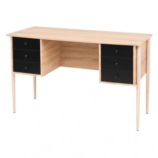 vidaXL Schreibtisch mit Schubladen 120×55×76 cm Eiche/Schwarz