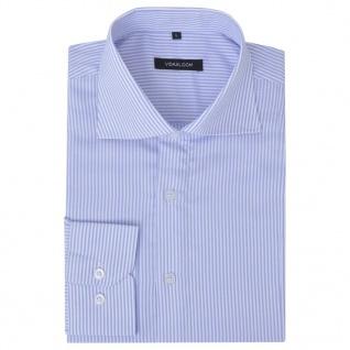 vidaXL Herren Business-Hemd weiß und hellblau gestreift Gr. M