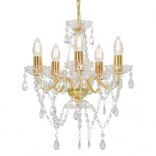 vidaXL Kronleuchter mit Perlen Golden Rund 5ßE14
