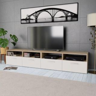 vidaXL 2 Stk. TV-Schränke Spanplatte 95 x 35 x 36 cm Eiche und Weiß