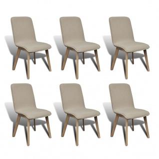 vidaXL Esszimmerstühle 6 Stk. Beige Stoff und Massivholz Eiche