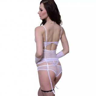 Sexy Damen Lingerie Dessous 3tlg. Set weiß Gr. S / M - Vorschau 2