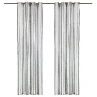 vidaXL Vorhänge mit Metallösen 2 Stk Baumwolle 140x175cm Grün Streifen