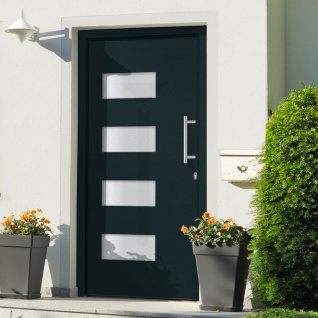 vidaXL Haustür Aluminium und PVC Anthrazit 110x210 cm