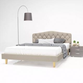 vidaXL Bett mit Matratze 140 x 200 cm Textilgewebe Beige