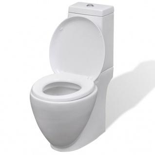 vidaXL WC Keramik-Toilette Badezimmer Rund Senkrechter Abgang Weiß