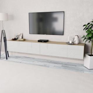 vidaXL TV-Schränke 2 Stk. Spanplatte 120x40x34 cm Hochglanz-Weiß/Eiche