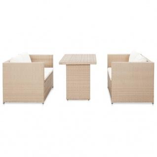 vidaXL 3-tlg. Garten-Lounge-Set mit Auflagen Poly Rattan Beige