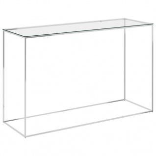 vidaXL Beistelltisch Silbern 120x40x78 cm Edelstahl und Glas
