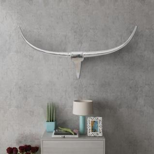 Aluminium Wanddekoration Stierkopf Geweih Silber 96 cm