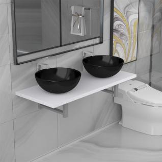vidaXL 3-tlg. Badmöbel-Set Keramik Weiß