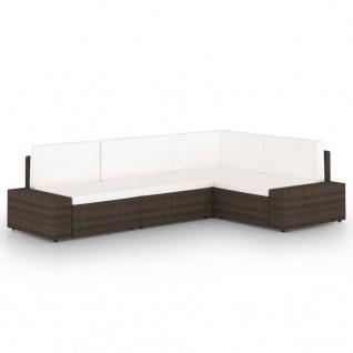vidaXL 4-tlg. Garten-Lounge-Set mit Kissen Braun Poly Rattan
