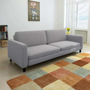 vidaXL 3-Sitzer-Sofa Hellgrau Stoff