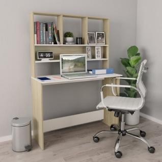 vidaXL Schreibtisch Regale Weiß Sonoma-Eiche 110×45×157cm Spanplatte
