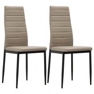 vidaXL Esszimmerstühle 2 Stk. Cappuccino-Braun Kunstleder