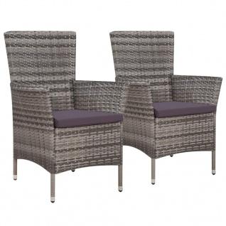 vidaXL Gartenstühle 2 Stk. mit Auflagen Poly Rattan Grau