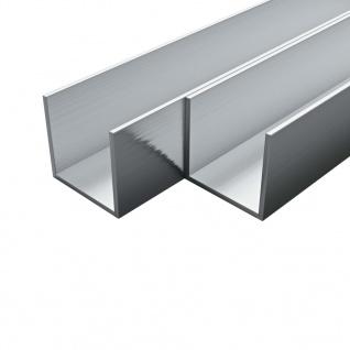 vidaXL Aluminium-Kanäle 4 Stück U-Profil 2 m 15x15x2 mm