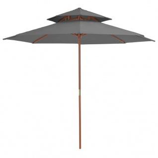 vidaXL Sonnenschirm mit Doppeldach und Holzstange 270 cm Anthrazit