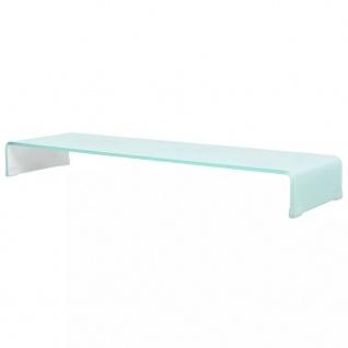 vidaXL TV-Tisch/Bildschirmerhöhung Glas Weiß 110 x 30 x 13 cm