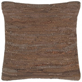 vidaXL Kissen Chindi Braun 60 x 60 cm Leder und Baumwolle