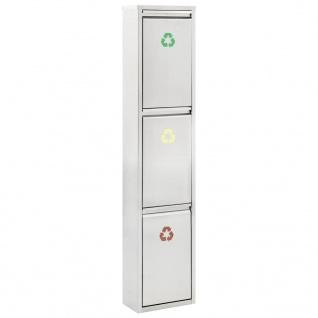 vidaXL Recycling-Mülleimer Silbern Edelstahl 3 x 15 L