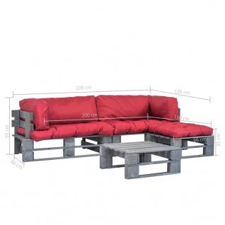 vidaXL 4-tlg. Garten-Lounge-Set Paletten Rote Auflagen Holz - Vorschau 5