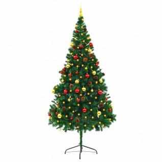 vidaXL Künstlicher Weihnachtsbaum Geschmückt Kugeln LEDs 210 cm Grün