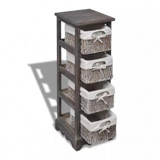 vidaXL Holz-Schränkchen mit 4 Flechtkörben Braun - Vorschau 3