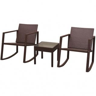 vidaXL Garten-Schaukelstühle mit Tisch Set 3-tlg. Poly Rattan Braun