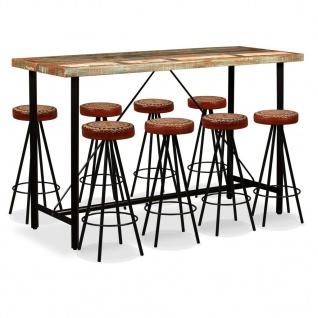 vidaXL Bar-Set 9-tlg. Massives Altholz, Echtleder und Canvas