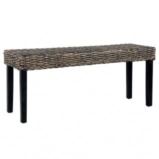 vidaXL Sitzbank 110 cm Schwarz Natur Kubu-Rattan und Massivholz Mango