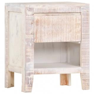 vidaXL Nachttisch Weiß 40 x 30 x 50 cm Akazie Massivholz