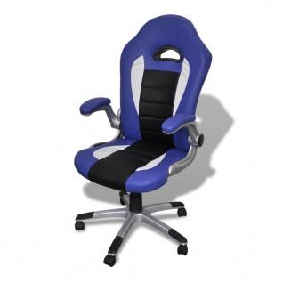 Bürosessel Bürostuhl Drehstuhl Chefsessel Kunstleder Office Blau - Vorschau 1