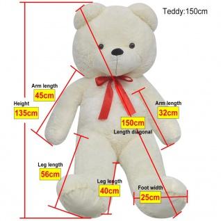XXL Weicher Plüsch-Teddybär Weiß 150 cm - Vorschau 5