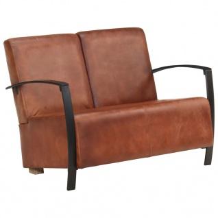 vidaXL 2-Sitzer-Sofa Braun Echtleder