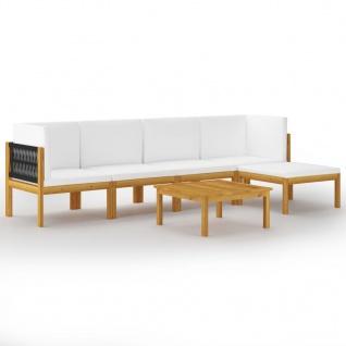 vidaXL 6-tlg. Garten-Lounge-Set mit Kissen Cremeweiß Massivholz Akazie